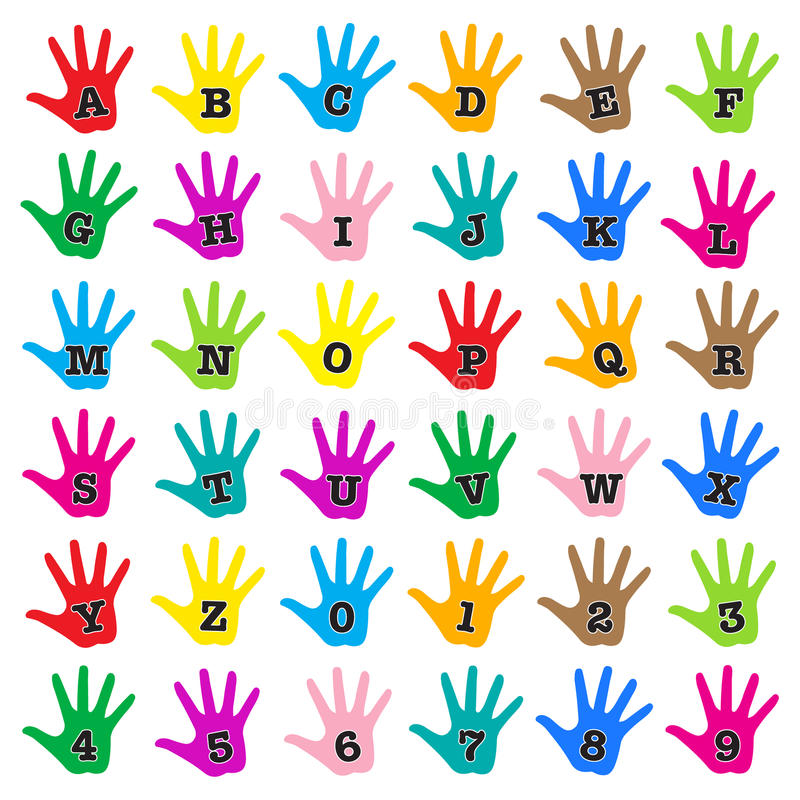 Hand rainbow alphabet stock illustration
