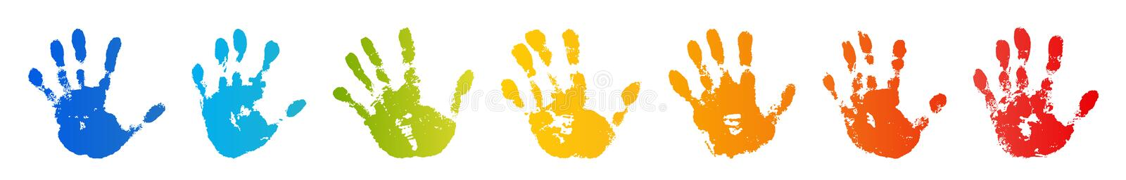 Hand rainbow print isolated on white background. Color child handprint. Creative paint hands prints. Happy childhood vector illustration