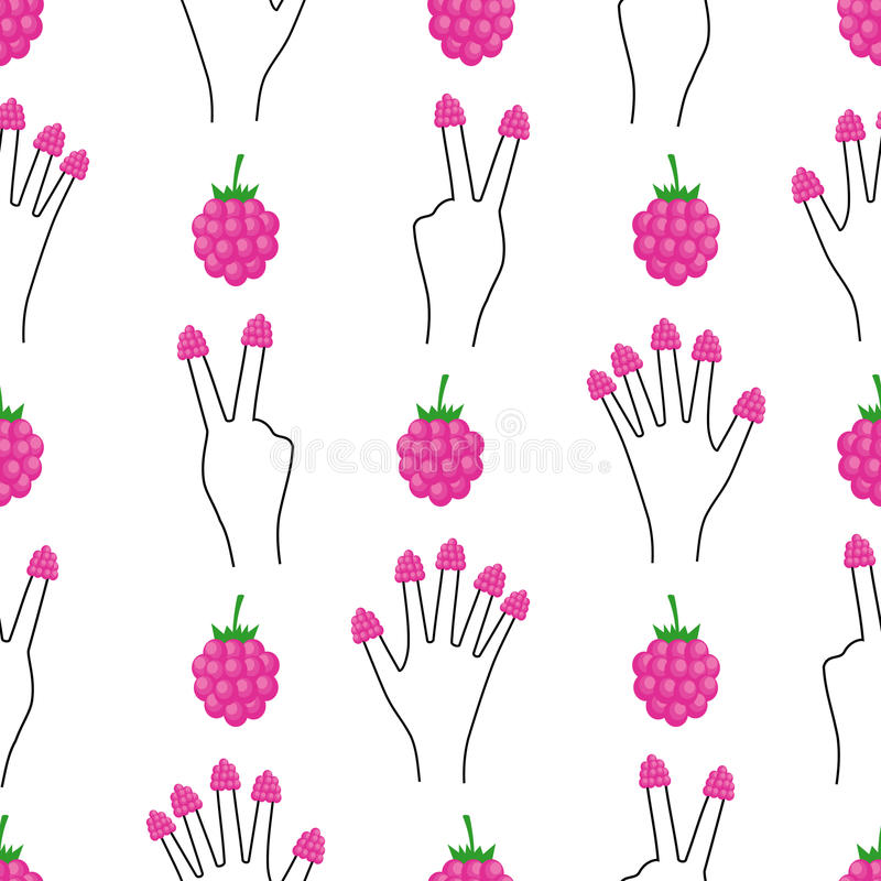 Hand with raspberries on all fingers seamless pattern. royalty free illustration