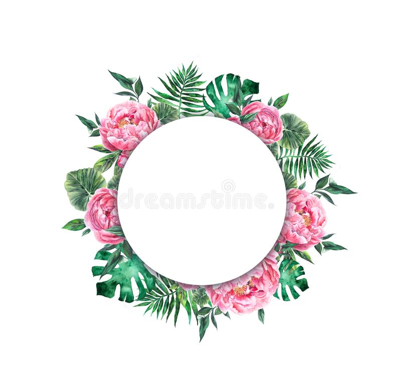 Hand rawn watercolor frames. floral wedding design stock images
