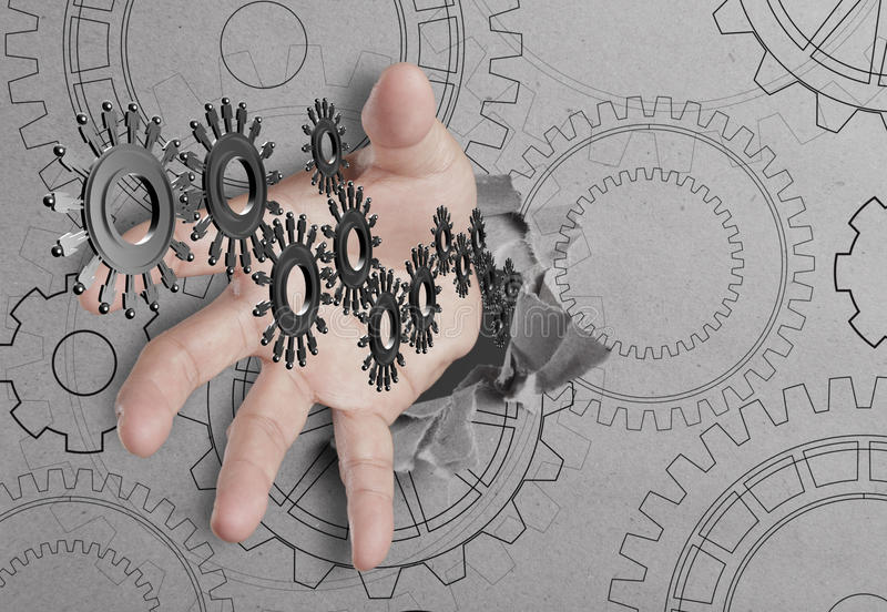 Hand reach people cogs stock photos