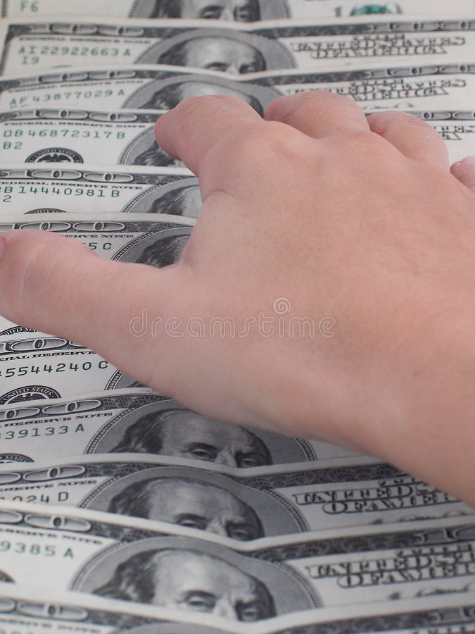 Hand reaching for money royalty free stock photo