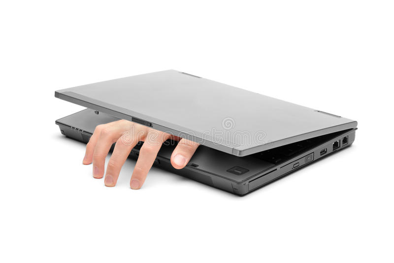 A hand reaching out of a laptop. Isolated on white background royalty free stock photos