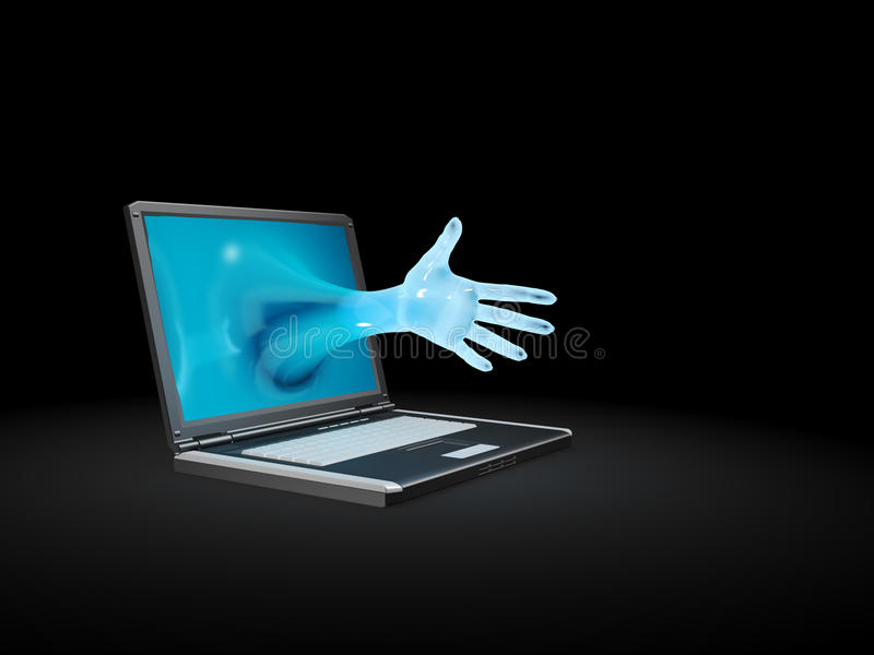 Hand reaching out of a notebook screen royalty free illustration