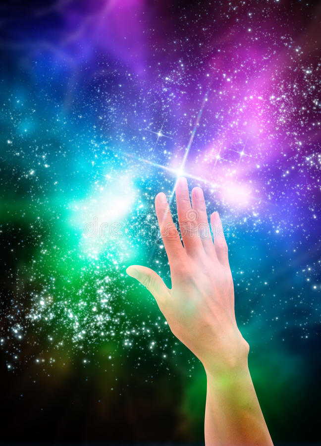Hand reaching for the stars royalty free illustration