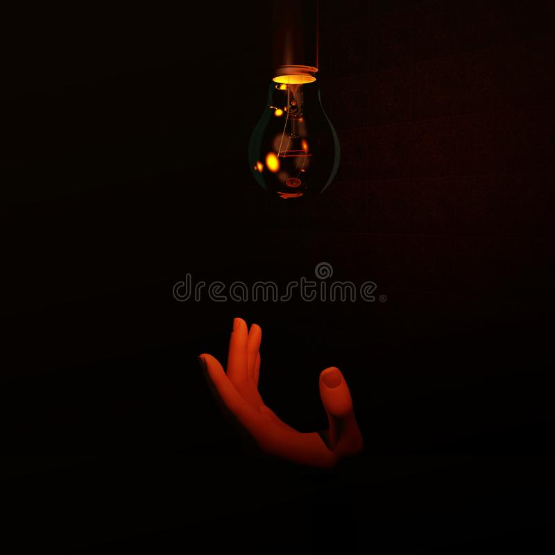 Free Hand Reaching Up To Dim Red Light Bulb Stock Photos - 144993033