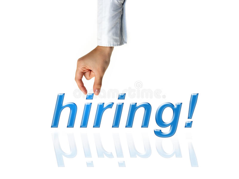 Hand of recruiter advertising for job vacancies to hire for business. Hand of recruiter advertising for job vacancies, searching candidates to hire for business royalty free stock photos
