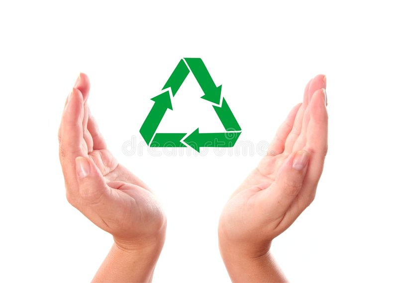 Download Hand with recycle icon stock image. Image of garbage, hand - 7398271