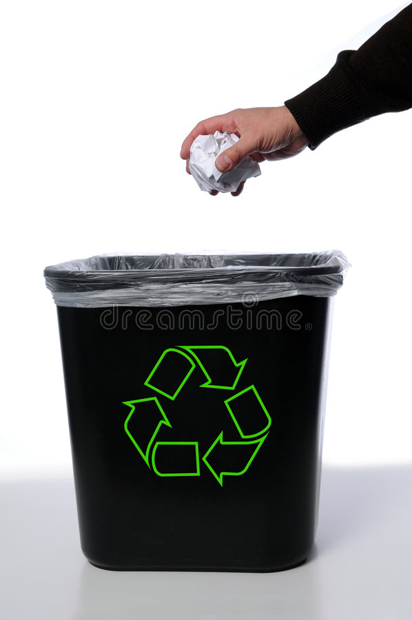 Hand With Recycle Trash Can royalty free stock photography