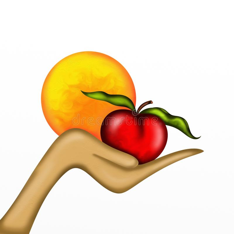 Download Red Apple and Sun stock illustration. Image of hand, nature - 29778611