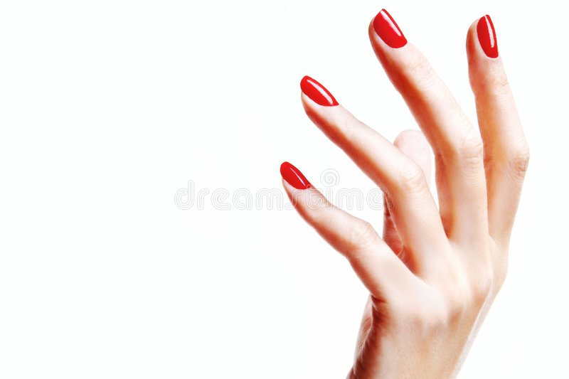 Hand with red fingernails. Woman's hand with red fingernails royalty free stock photography