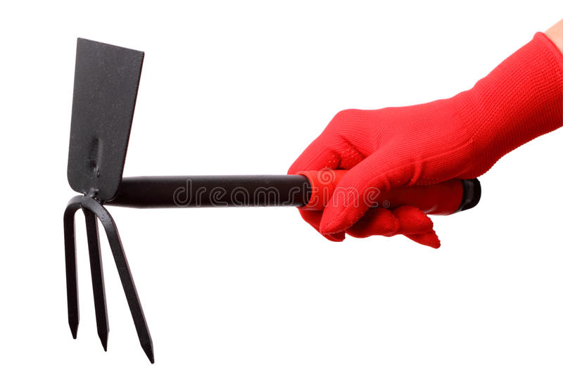 Hand in red gloves with gardening fork stock image