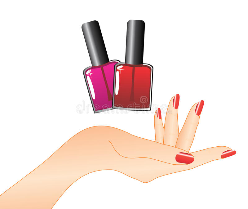 Hand with red nail polish stock illustration