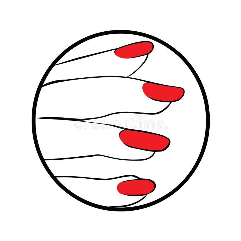 Hand with red nail polish manicure royalty free illustration