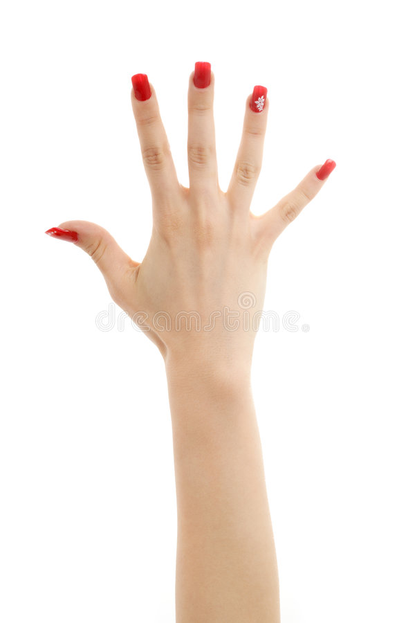 Hand with red nails stock image