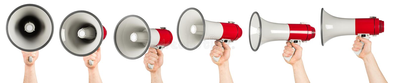 Hand with red white bullhorn megaphone set. Collection isolated background royalty free stock images