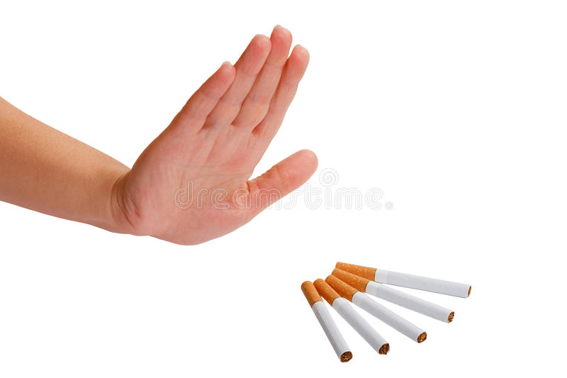 Hand rejects cigarette. Stop smoking. royalty free stock photo