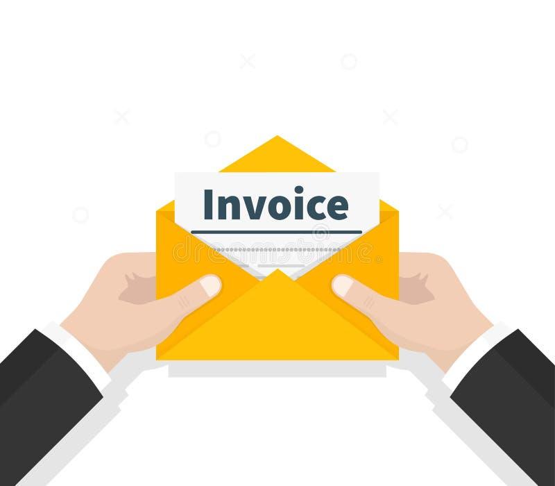 In hand rekening van de mensengreep in envelop E-mailbericht Het officiële document wordt ontvangen in de post Het controleren va stock illustratie