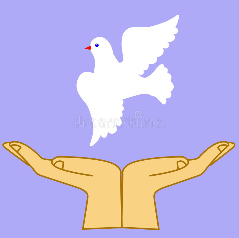 Hand releasing dove royalty free illustration