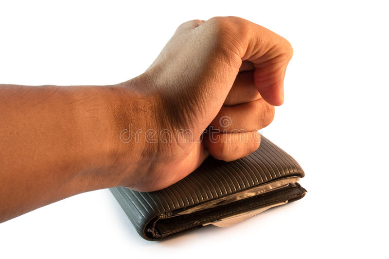 Hand resting on the wallet stock image