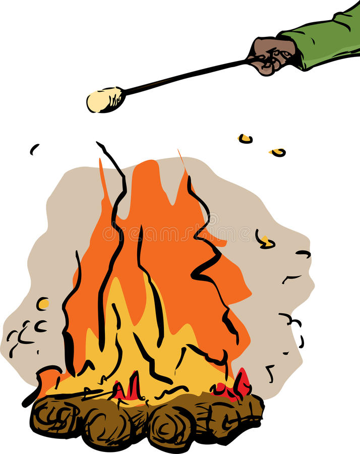 Download Hand Roasting Marshmallow Over Fire Stock Illustration