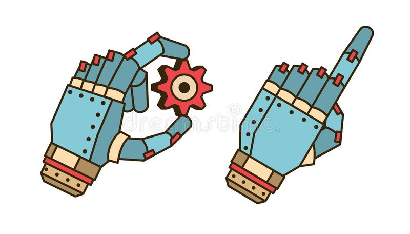 The hand of the robot holds the gear vector illustration
