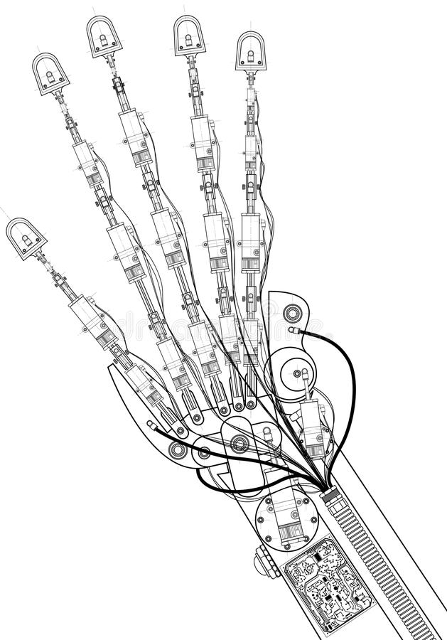 Hand robot technical drawing stock illustration