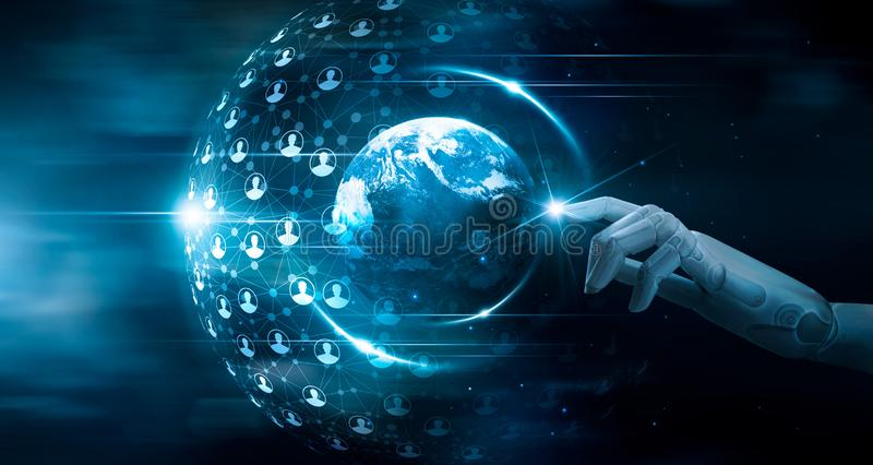 Hand of robot touching global network connection on customers, analysis, machine learning, innovative, technology and futuristic royalty free stock image