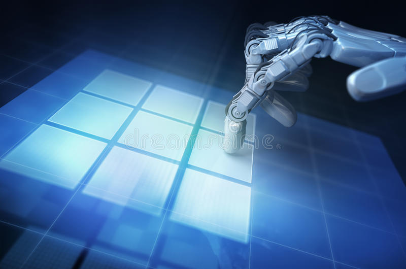 Hand. Of Robot and touchscreen royalty free illustration