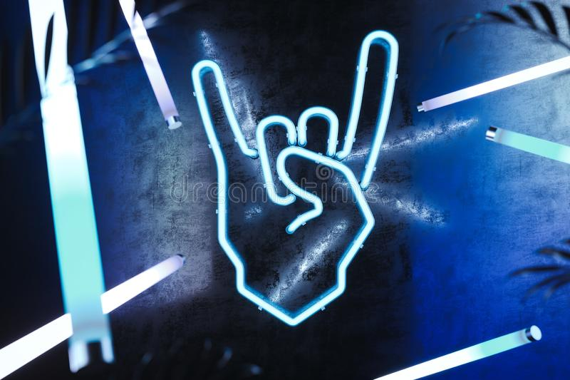 Hand in rock and roll sign made from neon lamps on dark background. 3d rendering. Illuminated Hand in rock and roll sign made from neon lamps on dark background vector illustration