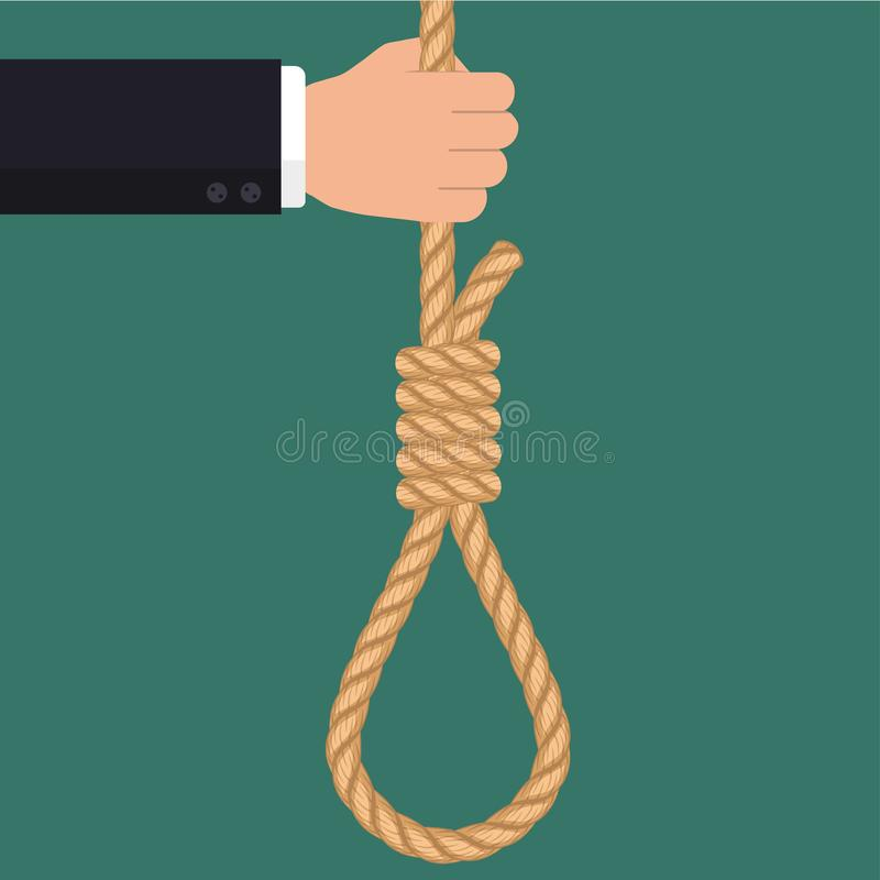 Hand with rope hanging loop, Businessman Suicide. Hand with rope hanging loop. Suicide and business. Tightens noose, businessman hopelessness, node for hanging stock illustration