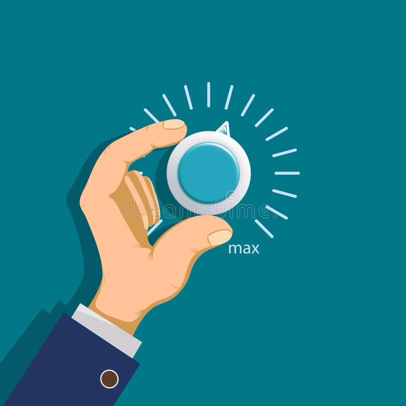 Hand rotates the thermostat vector illustration