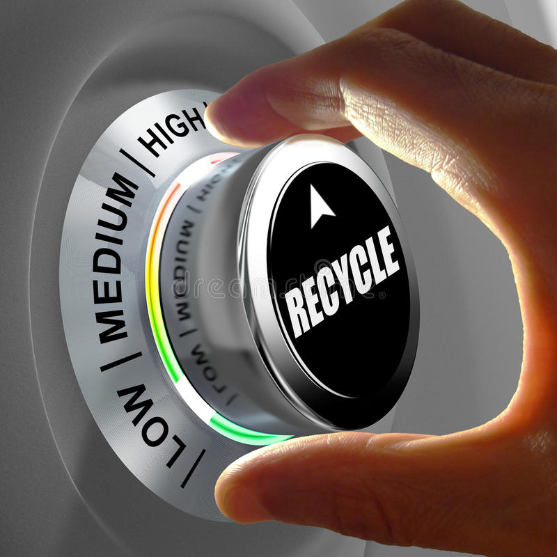 Hand rotating a button and selecting the level of recycling. stock illustration