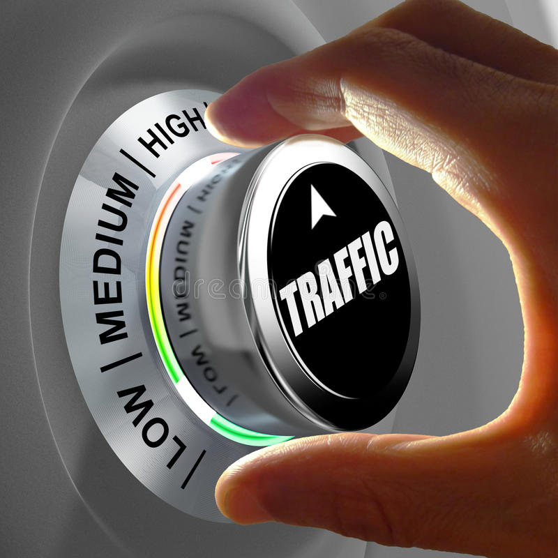 Hand rotating a button and selecting the level of traffic. This concept illustration is a metaphor for choosing the level of traffic (web site, car...) . Three vector illustration