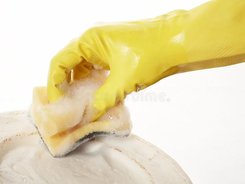 Hand in rubber glove 11 royalty free stock photo