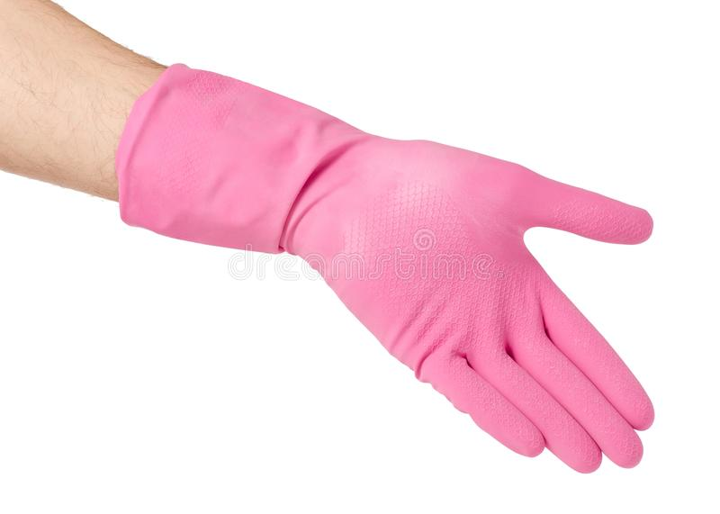 Hand in a rubber glove for cleaning cleanliness. On a white background isolation stock photography