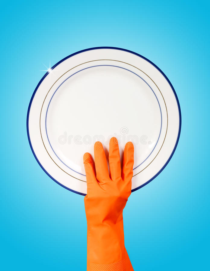 Download Hand In Rubber Glove Holding Clean Plate Stock Photo - Image: 13113656