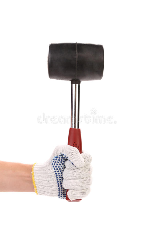 Hand with rubber mallet