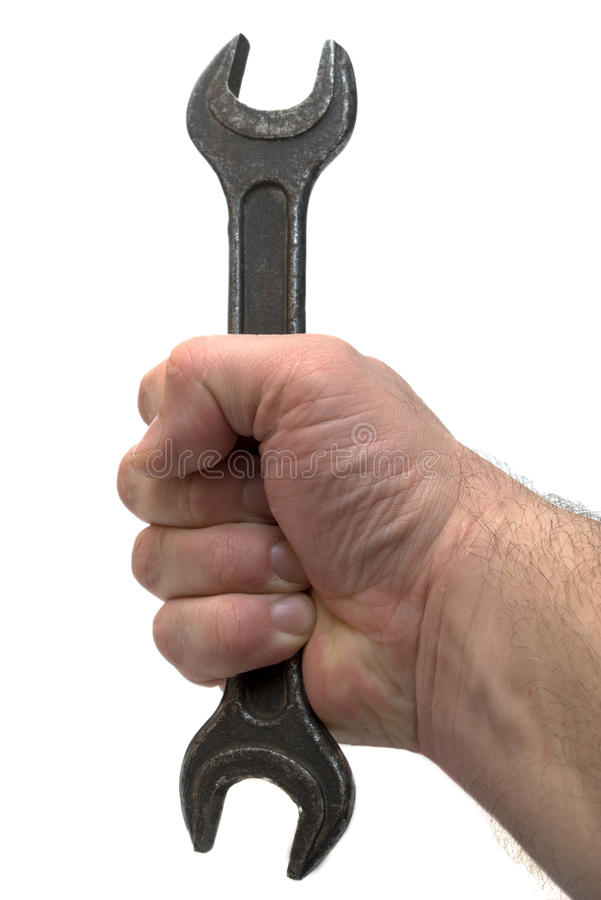 Download Hand With Rusty Spanner Stock Photo - Image: 12774410