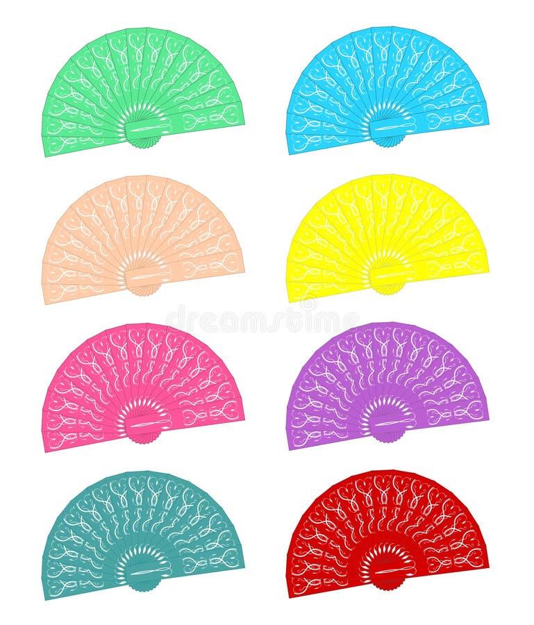 Hand - rymda ventilatorer i olika färger royaltyfri illustrationer