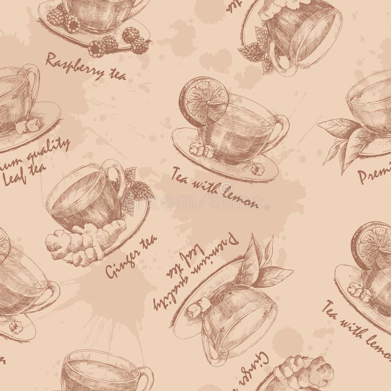 Hand sömlös dragen kopp te stock illustrationer