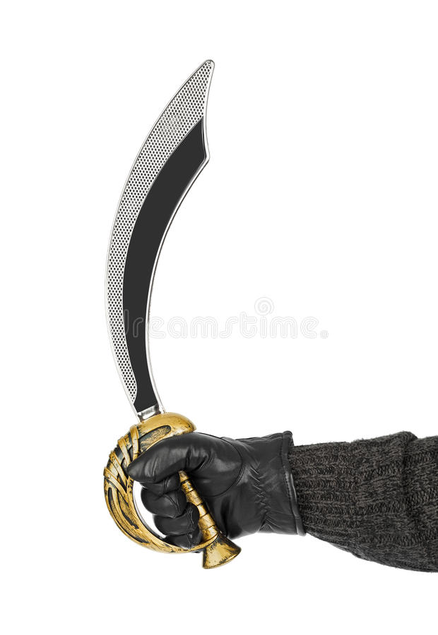 Hand with saber. Isolated on white background royalty free stock photo