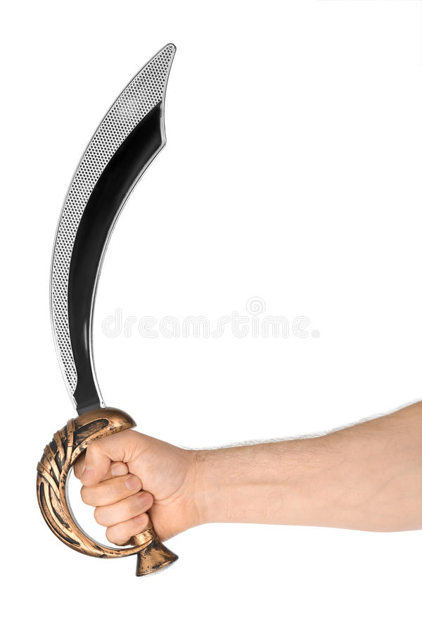 Hand with saber. Isolated on white background royalty free stock photos