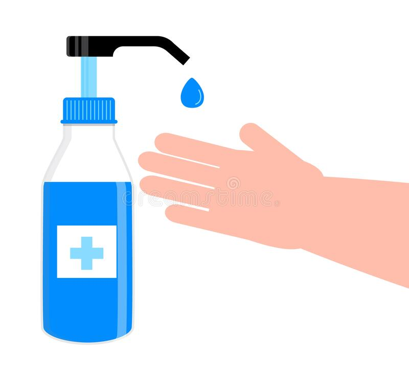 Free Hand Sanitizer Bottle. Liquid Soap Are Shown. Disinfection Icon Sign Vector. Body Hygiene Illustration. Antiseptic Gel Are Shown. Stock Photos - 181938033
