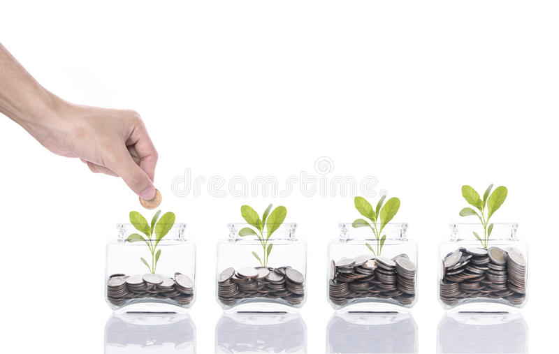 Hand saving money concept, business hand putting money coin stack growing tree on piggy bank. Hand saving money concept, business hand putting money coin stack stock photos