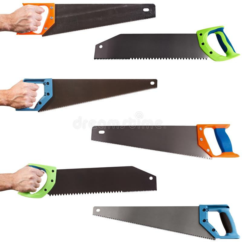 Hand saw for joiner and carpenter isolated on white background.  royalty free stock image