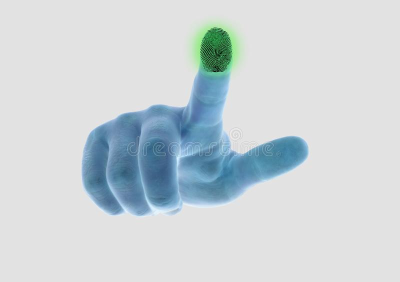 The hand scans the fingerprint of the index finger stock photos