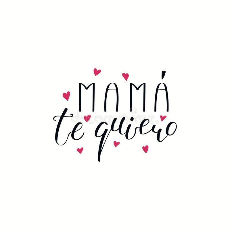 Hand schriftliche Liebe Sie Mutterzitat auf spanisch vektor abbildung