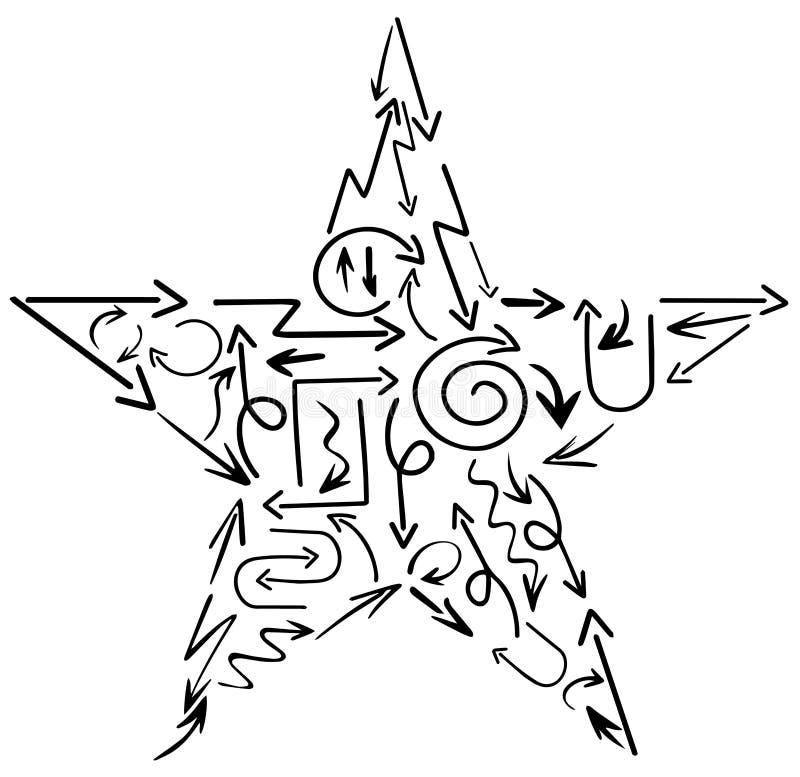 Hand schriftliche Pfeile mit Stern-Form stock abbildung
