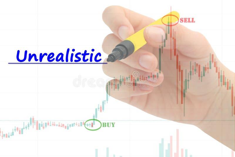 Hand schrijven 'Onrealistisch 'op bedrijfsgrafiek en voorraad financiële indicator royalty-vrije stock afbeelding